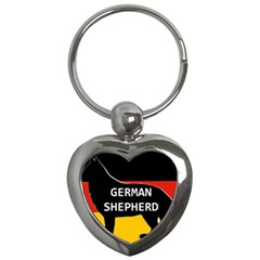 German Shepherd Name Silhouette On Flag Black Key Chains (Heart)