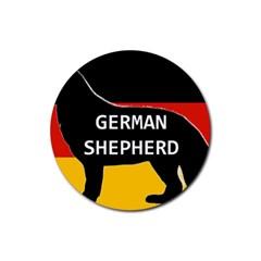 German Shepherd Name Silhouette On Flag Black Rubber Coaster (Round)