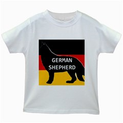 German Shepherd Name Silhouette On Flag Black Kids White T-Shirts