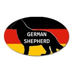 German Shepherd Name Silhouette On Flag Black Oval Magnet