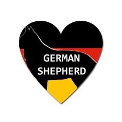 German Shepherd Name Silhouette On Flag Black Heart Magnet