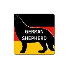 German Shepherd Name Silhouette On Flag Black Square Magnet
