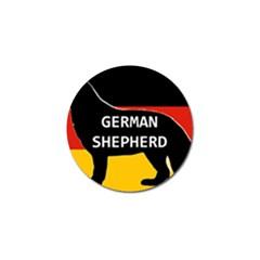 German Shepherd Name Silhouette On Flag Black Golf Ball Marker