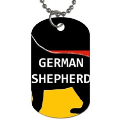 German Shepherd Name Silhouette On Flag Black Dog Tag (Two Sides)