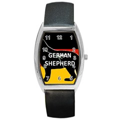 German Shepherd Name Silhouette On Flag Black Barrel Style Metal Watch