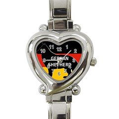 German Shepherd Name Silhouette On Flag Black Heart Italian Charm Watch
