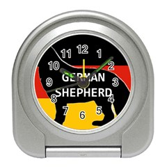 German Shepherd Name Silhouette On Flag Black Travel Alarm Clocks