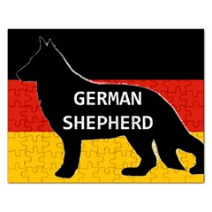 German Shepherd Name Silhouette On Flag Black Rectangular Jigsaw Puzzl