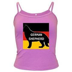 German Shepherd Name Silhouette On Flag Black Dark Spaghetti Tank