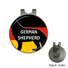 German Shepherd Name Silhouette On Flag Black Hat Clips with Golf Markers