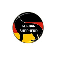 German Shepherd Name Silhouette On Flag Black Hat Clip Ball Marker (4 pack)