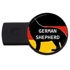German Shepherd Name Silhouette On Flag Black USB Flash Drive Round (4 GB)