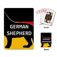 German Shepherd Name Silhouette On Flag Black Playing Card