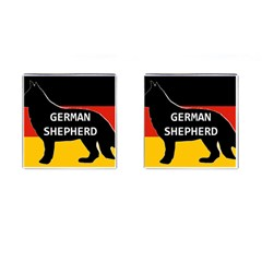 German Shepherd Name Silhouette On Flag Black Cufflinks (Square)