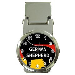 German Shepherd Name Silhouette On Flag Black Money Clip Watches