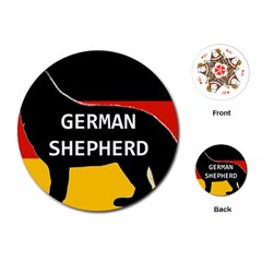 German Shepherd Name Silhouette On Flag Black Playing Cards (Round)