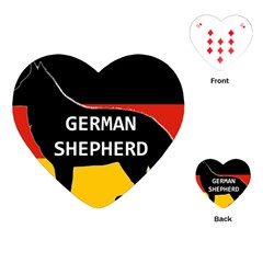 German Shepherd Name Silhouette On Flag Black Playing Cards (Heart)