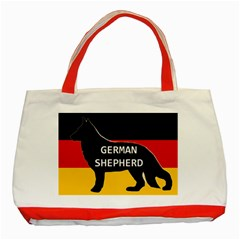 German Shepherd Name Silhouette On Flag Black Classic Tote Bag (Red)