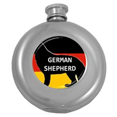 German Shepherd Name Silhouette On Flag Black Round Hip Flask (5 oz)