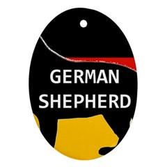 German Shepherd Name Silhouette On Flag Black Oval Ornament (Two Sides)