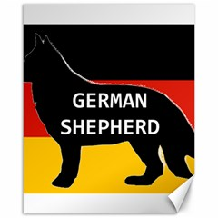 German Shepherd Name Silhouette On Flag Black Canvas 16  x 20