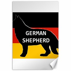 German Shepherd Name Silhouette On Flag Black Canvas 24  x 36