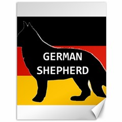 German Shepherd Name Silhouette On Flag Black Canvas 36  x 48
