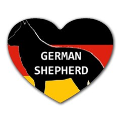 German Shepherd Name Silhouette On Flag Black Heart Mousepads