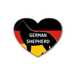 German Shepherd Name Silhouette On Flag Black Rubber Coaster (Heart)