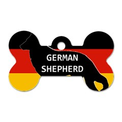 German Shepherd Name Silhouette On Flag Black Dog Tag Bone (One Side)