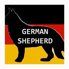 German Shepherd Name Silhouette On Flag Black Medium Glasses Cloth
