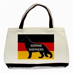 German Shepherd Name Silhouette On Flag Black Basic Tote Bag (Two Sides)