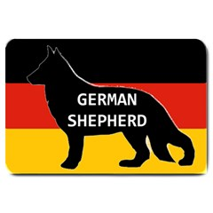 German Shepherd Name Silhouette On Flag Black Large Doormat