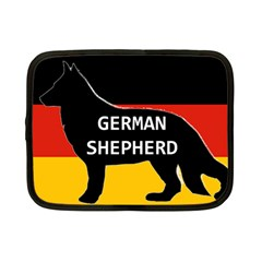 German Shepherd Name Silhouette On Flag Black Netbook Case (Small)