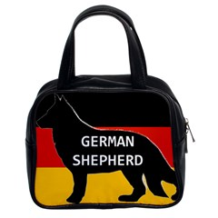 German Shepherd Name Silhouette On Flag Black Classic Handbags (2 Sides)