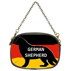 German Shepherd Name Silhouette On Flag Black Chain Purses (One Side)