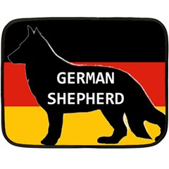 German Shepherd Name Silhouette On Flag Black Double Sided Fleece Blanket (Mini)