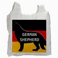 German Shepherd Name Silhouette On Flag Black Recycle Bag (One Side)
