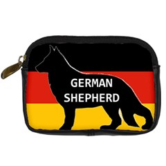 German Shepherd Name Silhouette On Flag Black Digital Camera Cases