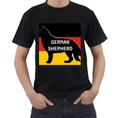 German Shepherd Name Silhouette On Flag Black Men s T-Shirt (Black)
