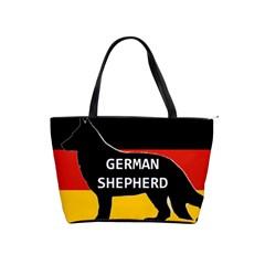 German Shepherd Name Silhouette On Flag Black Shoulder Handbags