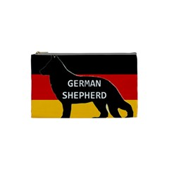 German Shepherd Name Silhouette On Flag Black Cosmetic Bag (Small)