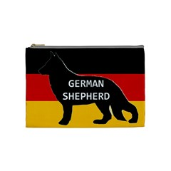 German Shepherd Name Silhouette On Flag Black Cosmetic Bag (Medium)
