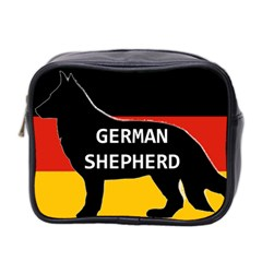 German Shepherd Name Silhouette On Flag Black Mini Toiletries Bag 2-Side