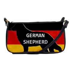 German Shepherd Name Silhouette On Flag Black Shoulder Clutch Bags