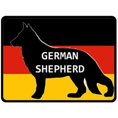 German Shepherd Name Silhouette On Flag Black Fleece Blanket (Large)
