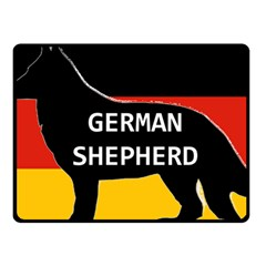 German Shepherd Name Silhouette On Flag Black Fleece Blanket (Small)