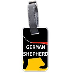 German Shepherd Name Silhouette On Flag Black Luggage Tags (Two Sides)