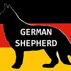 German Shepherd Name Silhouette On Flag Black Magic Photo Cubes
