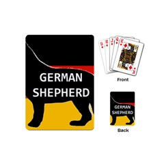 German Shepherd Name Silhouette On Flag Black Playing Cards (Mini)